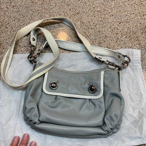Gray and White Leather Coach Bag
